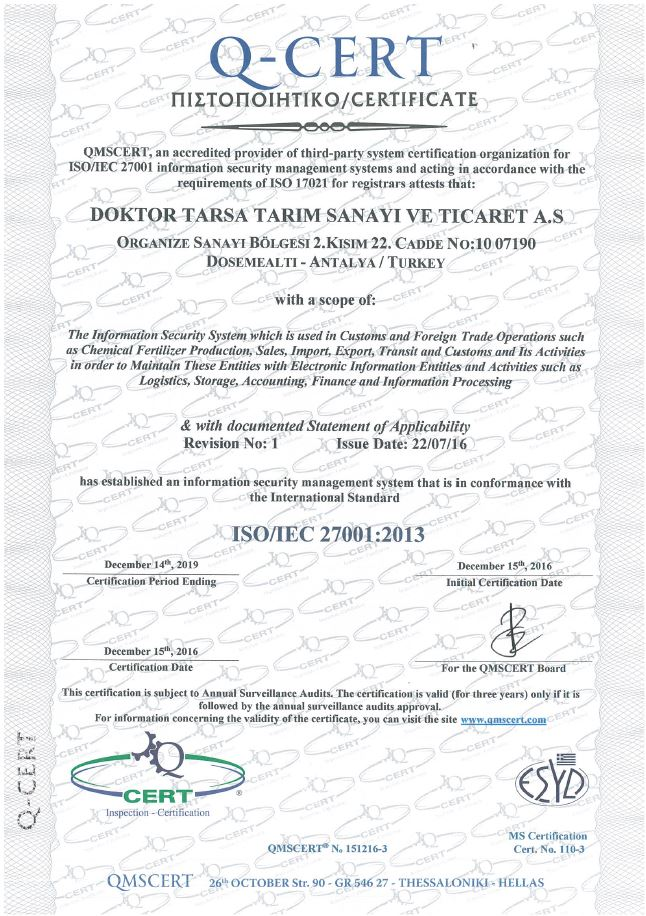 TS EN ISO 9001:2000 Quality Management System Certificate